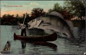 1214-Exaggeration-Postcard-The-Fishing-Is-Great