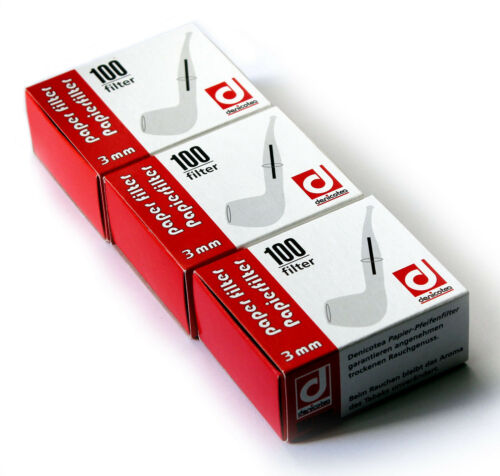 300 pcs Denicotea Paper Filters for pipe Smoking diameter 3mm