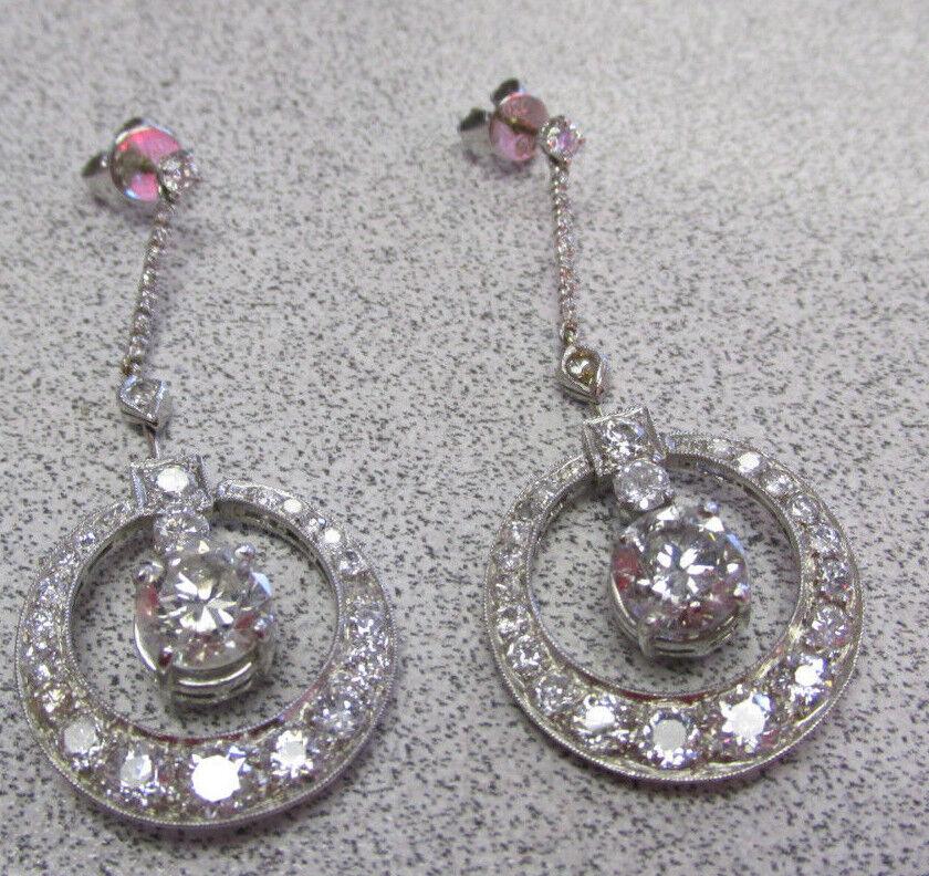 Large 4.80 ctw Diamond Chandelier Earrings 18k White gold  Make Offer