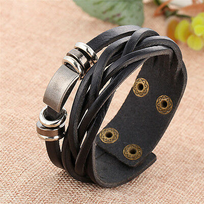 2PC Men's Braided Genuine Leather Stainless Steel Cuff Bangle Bracelet Wristband