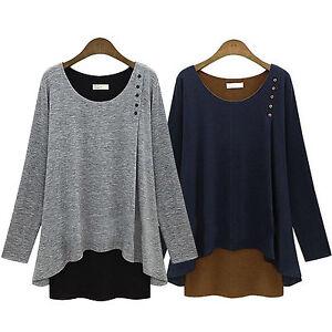 Damen-Winter-Pullover-Bluse-Sweatshirt-Freizeit-Asymmetrisch-Sweats-Jumper-Tops
