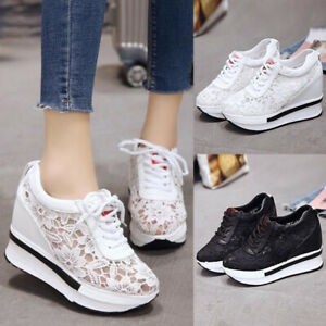 Womens-mesh-shoes-Platform-Hidden-Wedge-High-Heels-Sneakers-lace-up-Casual-Shoes