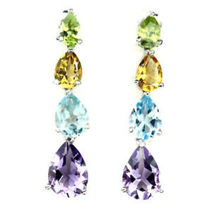 Unheated-Pear-Amethyst-Citrine-Peridot-Blue-Topaz-925-Sterling-Silver-Earrings