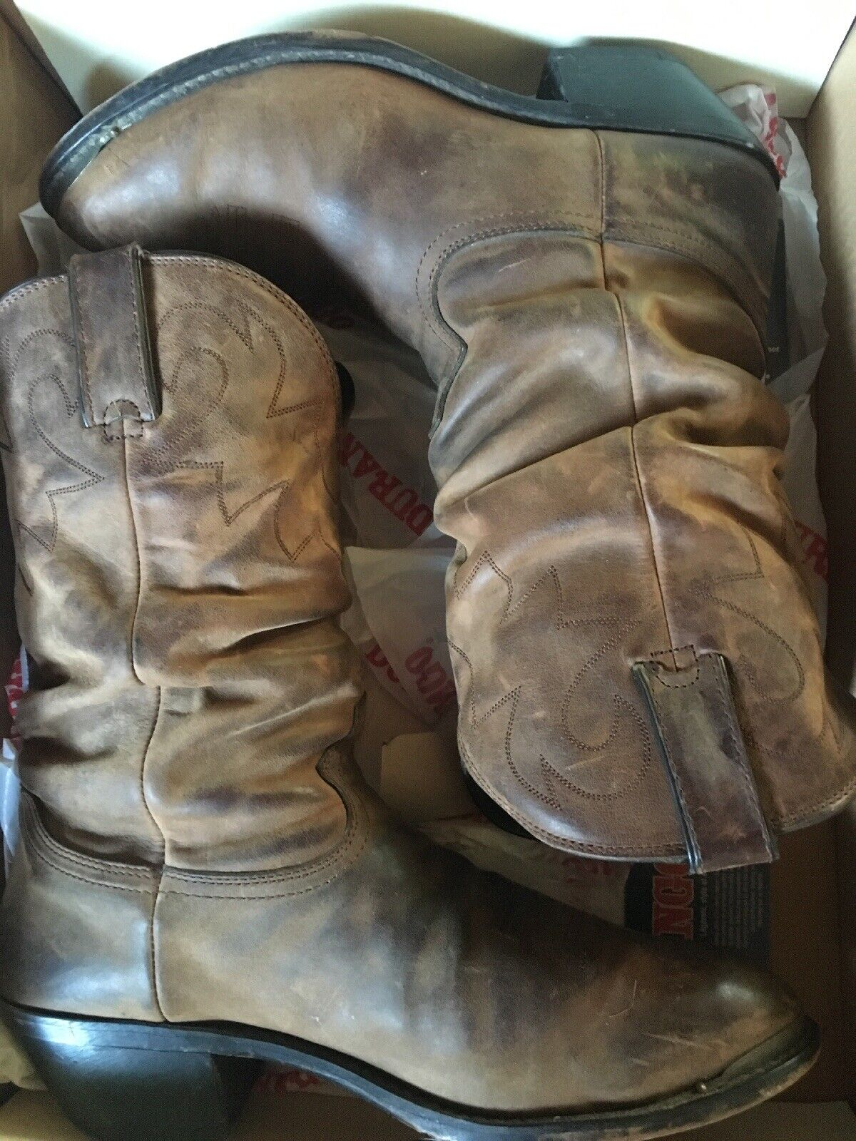 b7cd5c3f506 Durango Crush Slouch Brown Western Cowboy Women's Boots Rd542 Size 10 M