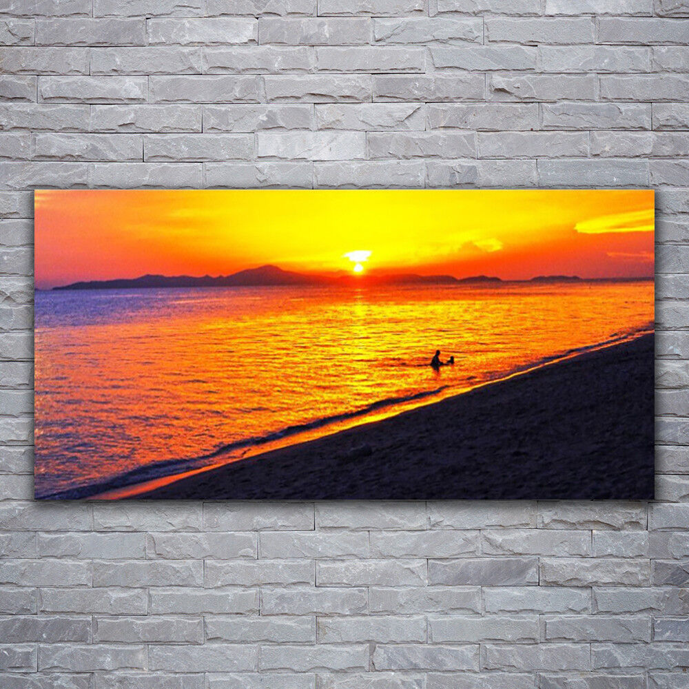 Impression sur verre Wall Art 120x60 Photo Image mer soleil plage paysage