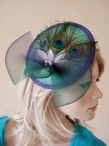 70737af213a Image is loading Peacock-Navy-Emerald-Green-White-Ombre-Saucer-Headpiece-