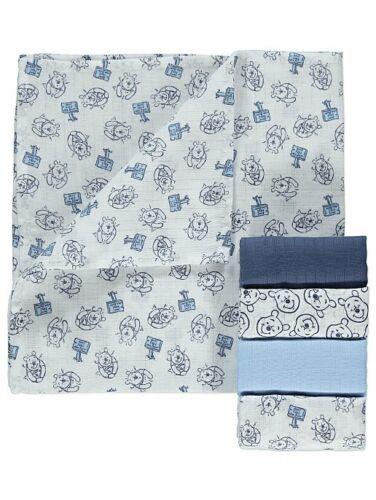 5 Pack Winnie the Pooh Disney Baby Muslin Squares New Burp Cloths Bib