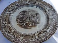 E. Challinor Corinthia Brown Transferware Ironstone Dinner Plate