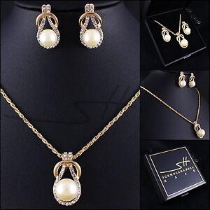 Perlen-Set-Kette-Ohrstecker-Gold-Perle-vergoldet-Swarovski-Elements-Etui