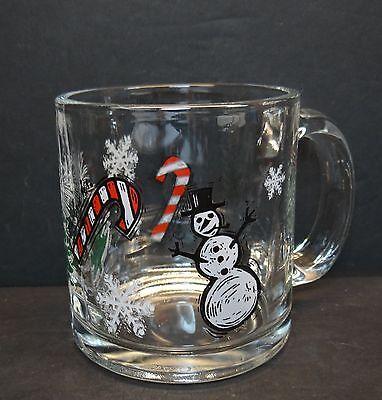 Starbucks Clear Glass Christmas Holiday Coffee Mug Tea Cup 12 oz Snowman Tree