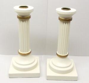 Image Is Loading Swedish Wood Candle Holder Pair Greek Column Pillar