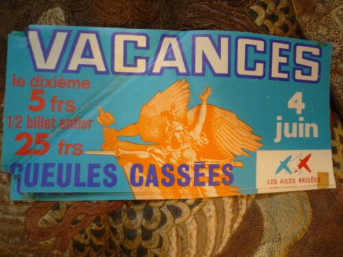 VERS 1975 GUEULES CASSEES LES AILES BRISEES VACANCES 4 JUIN TIRAGE LOTERIE NATIO