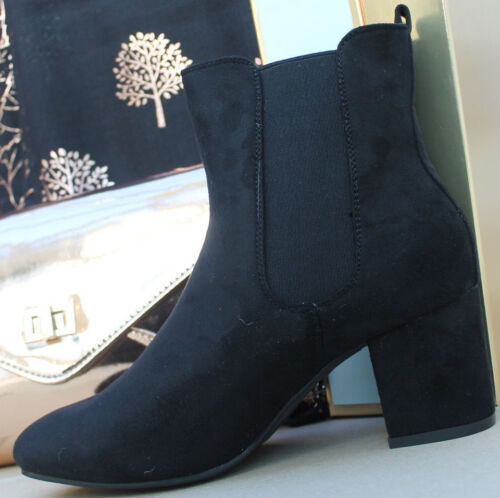New Womens Ankle Suede Chelsea Black Boots Chunky Block Heels Shoes Size Uk 3-8