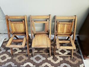 Vintage-Child-Folding-Chair-Wood-Slats-Flat-Children-Decor-Wooden-set-of-3