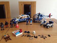 Helicóptero de policía de PLAYMOBIL, COCHE, QUAD BICICLETA & Motor Bicicleta Plus Accesorios