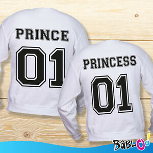 Coppia-di-Felpe-You-And-Me-Personalizzati-Con-Numeri-034-Prince-and-Princess-034