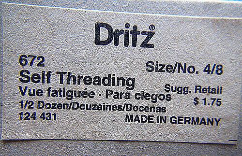 Dritz 672 Self Threading Needles-Size 4//8 1994 12Pk of needles High Quality