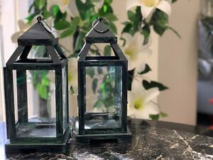 Set-Of-2-Lantern-Shaded-Green-Candle-Holder-Home-Decore-Hanging-Furnishing-Holds