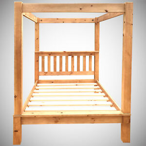 5ft King Size Four Poster Bed Frame Solid Pine Wood Hidden Fittings