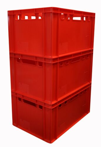 3 Stück Eurobox Größe E3 Farbe Rot stapelbar robust für Lebensmittel Gastlando