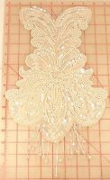 Vintage Bodice Applique Iridescent Pearl White Fringe Bottom 13 X 9 Beaded