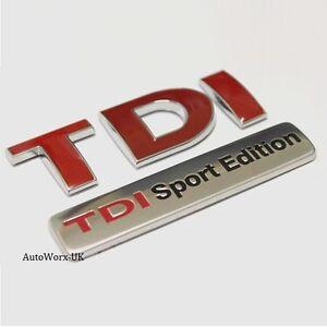 TDI Sport Edition BADGE EMBLÈME Logo Decal autocollant coffre hayon arriere de coffre NEUF
