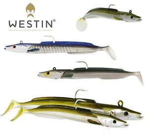Westin-Soft-Lure-bass-Fishing-Sandy-Andy-Jig-Head-Appat-Sand-Eel-Shad-Paddle-Tail