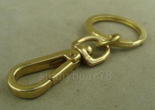 Handmade Solid Brass Gold Key Holder JAW Swivel Snap Hook Clip Keychain Ring