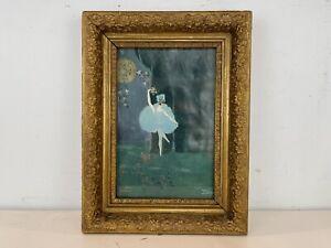 Art Deco Style Ballerina Dancing in Moonlight Painting Framed Signed Evelyn