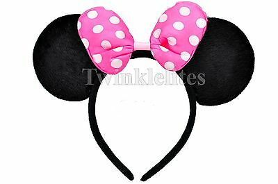Mouse Polka Dots Headband PINK Plush Ears Birthday Favors Party Costume