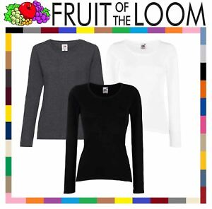 Fruit-of-the-Loom-Plain-Lady-Fit-Long-Sleeve-T-Shirt-Top-3-COLOURS-XS-2XL