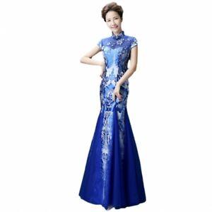 Blaues und weißes Porzellan Cheongsam Damen Meerjungfrau Abendkleid Cocktail L