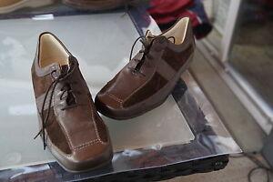 WALDLAUFER-Damen-Comfort-Schuhe-Schnuerschuhe-Leder-Einlagen-braun-Gr-8-5-G-42-5