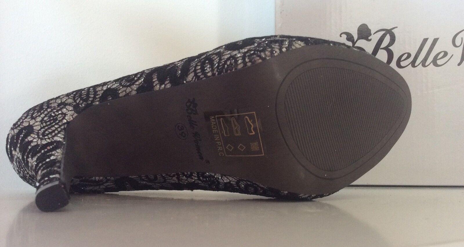 Pumps, Stilettos, High Heels, Heels, Heels, Gr 37, schwarz, silber, Glitzer, spitze 894690