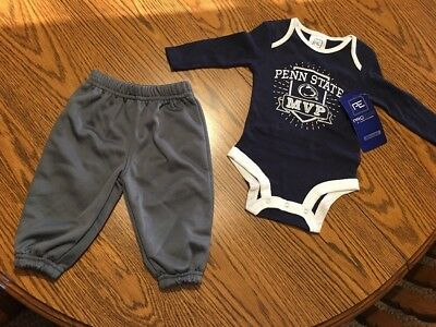 INFANT 3-6M 3-6 MONTHS PENN STATE NITTANY LIONS NCAA 3-PACK BODYSUITS SET NWT