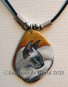 Siamese-cat-art-pendant-painting-slate-original-handpainted-by-Suzanne-Le-Good