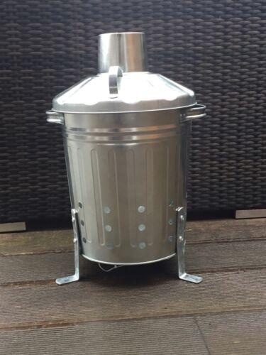 Mini Garden Incinerator Galvanised 15L Litre Small Fire Bin Letter Paper Burner