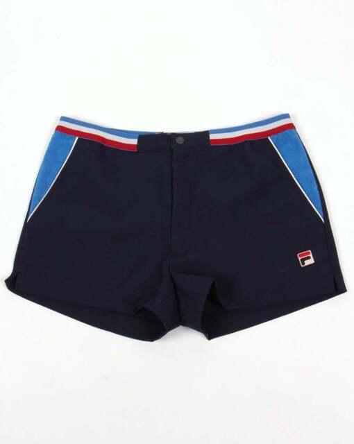 Fila Vintage High Tide III Shorts in Navy, Ocean Blue & Gardenia  retro tennis