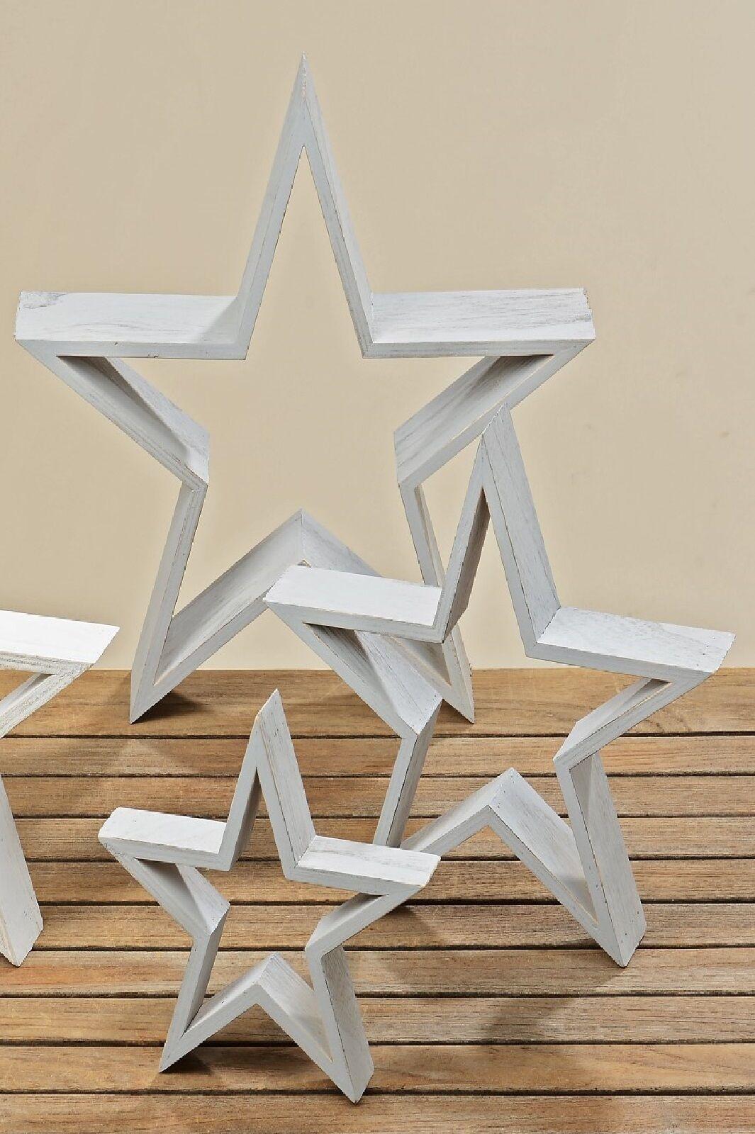 Stern Holzstern offen Deko Weihnachtsdeko 3er Set grau | Billig ideal  | Marke