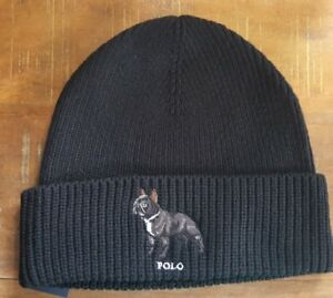 RALPH LAUREN POLO FRENCH BULLDOG WATCH CAP BLACK BEANIE SKI HAT ... 43704b18e1e
