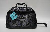 Kathy Van Zeeland Purple Bandana Wheeled Duffle Luggage City Bag $120 Patent
