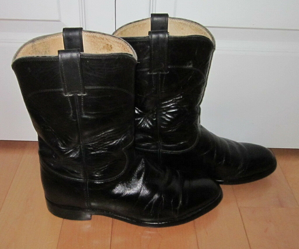 Justin Mens Black Leather Cowboy Western Boots 8 EE