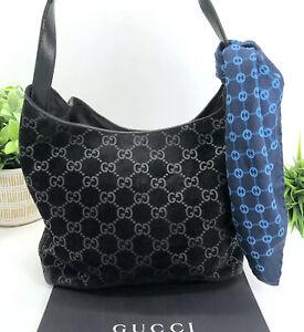 Gucci-Authentic-GG-Logo-Black-Suede-Metallic-Metal-Strap-Shoulder-Bag-Satchel