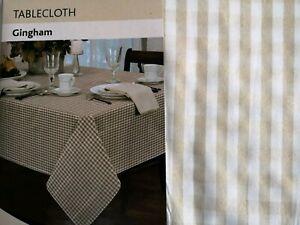 NEW-Alan-Symonds-Gingham-Circular-Tablecloth-Beige-72-034-Diameter