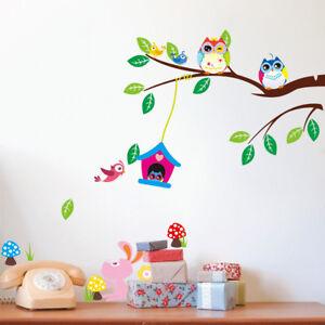 Details zu Wandtattoo Wandsticker Deko Tiere Kinder Eule Wald Baby  Kinderzimmer Träume Ast