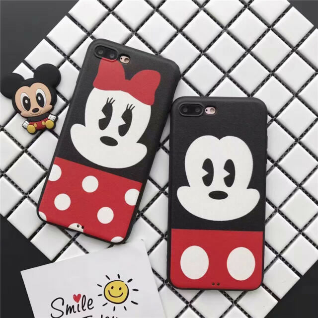 Hot Cartoon cute Minnie Mickey leather Silk Soft case cover for iphone 7 6S plus