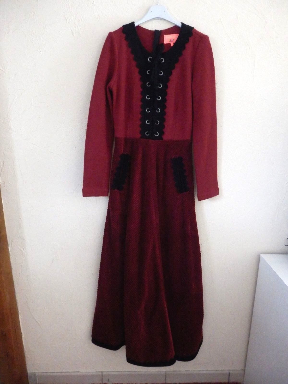 MANOUSH - Kleid - velours Cord und Wollwaren bordeaux -t. 38fr - neu