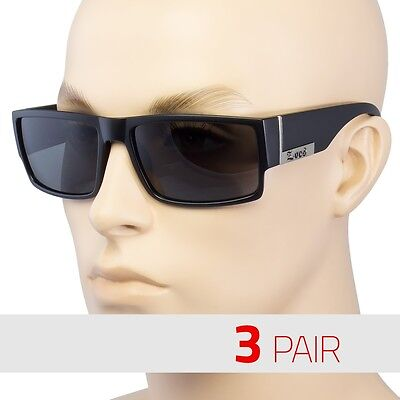 3 PAIR MEN DARK LENS GANGSTER MATTE BLACK OG SUNGLASSES LOCS BIKER GLASSES FLAT