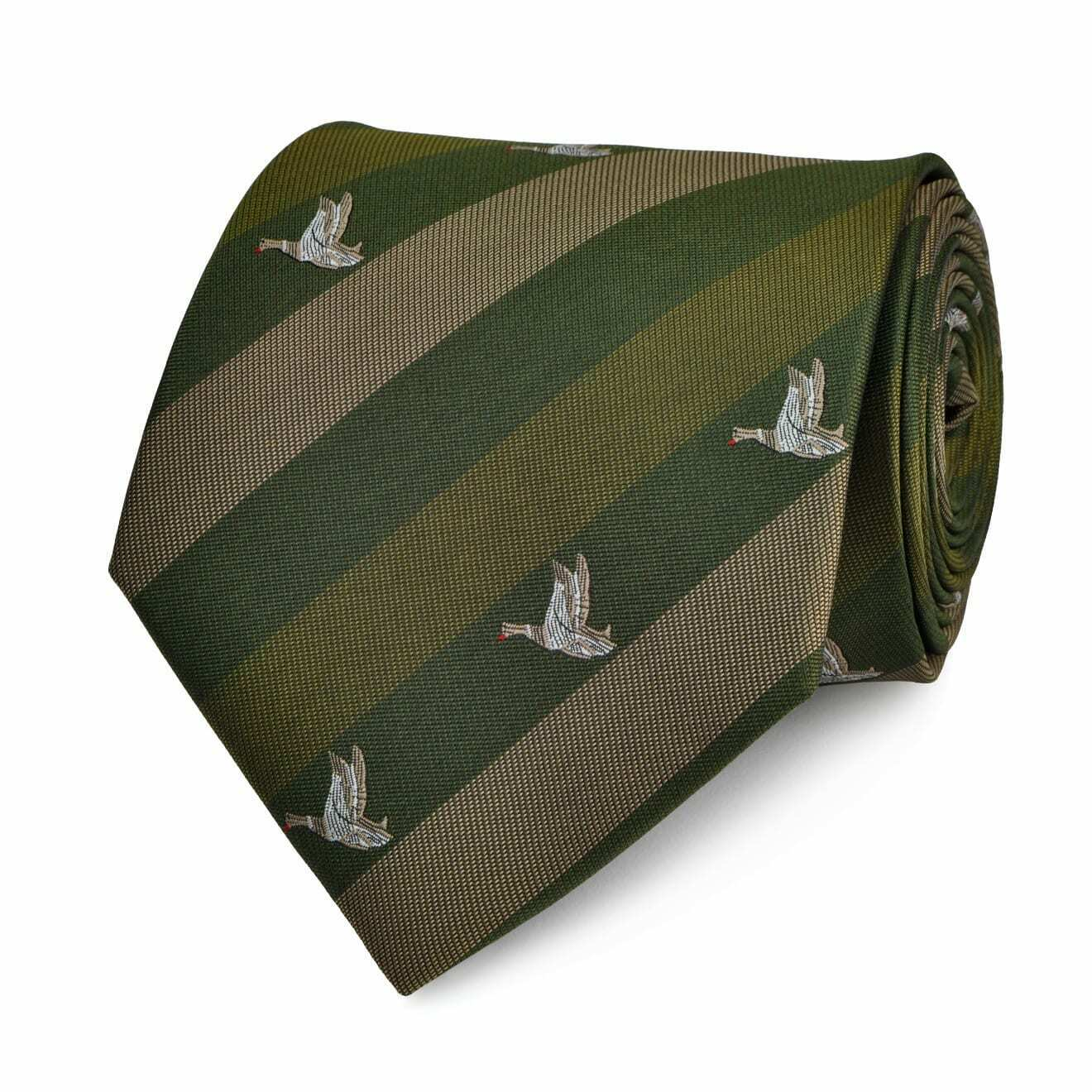 Traditional English Flying Ducks Tie Green - SALE!!