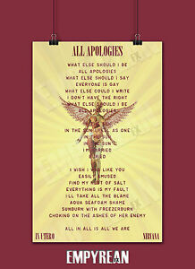 Image Is Loading Nirvana ALL APOLOGIES In Utero Song Lyric Poster